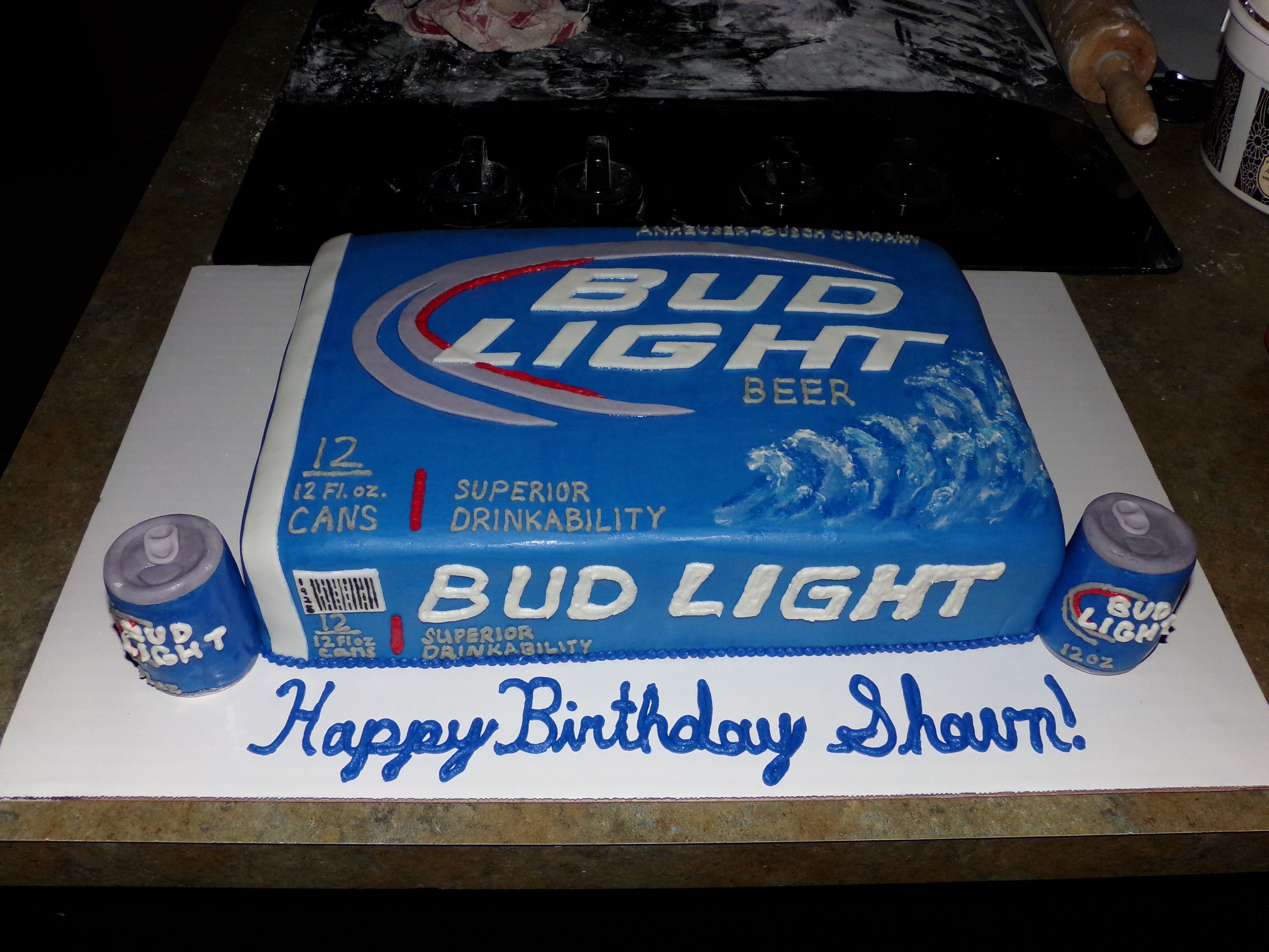 Awe Inspiring 12 Pk Bud Light Box And Beer Cans Cake Bud Light Cake Beer Can Funny Birthday Cards Online Elaedamsfinfo