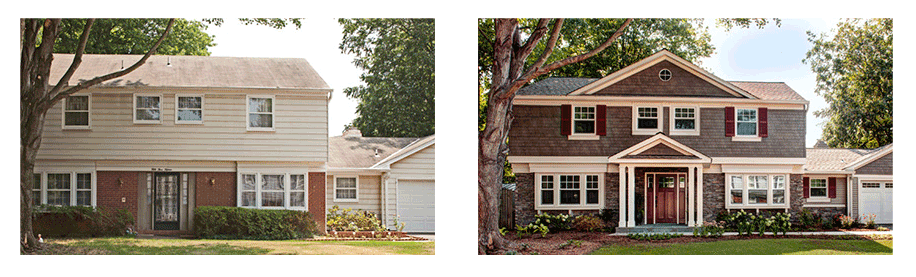Before And After Designed Exterior Remodel Vinyl Siding Decorative Accents House Color