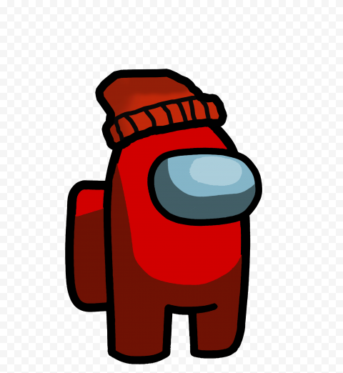 Hd Red Among Us Crewmate Character With Red Beanie Hat Png Red Beanie Hat Red Beanie Beanie Hats