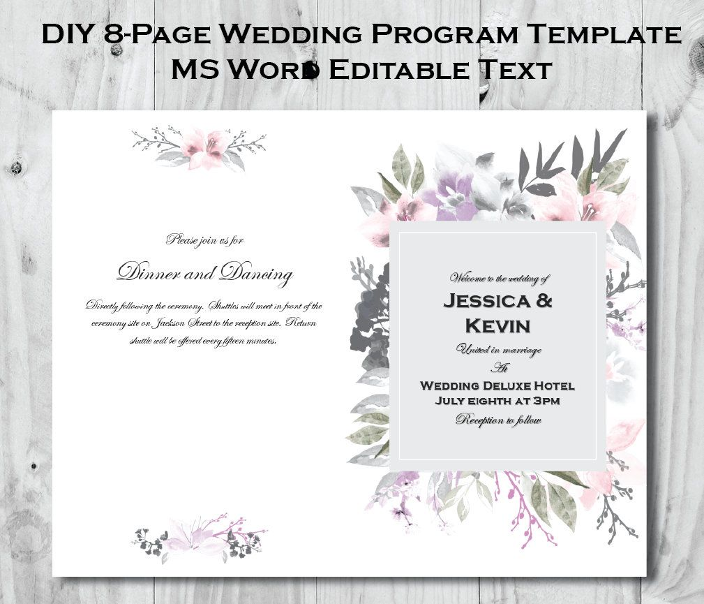 Printable 8 Page Wedding Program Template Order Of Service Program Editable Text With Ms Word Wedding Programs Template Wedding Programs Program Template Microsoft office wedding program template