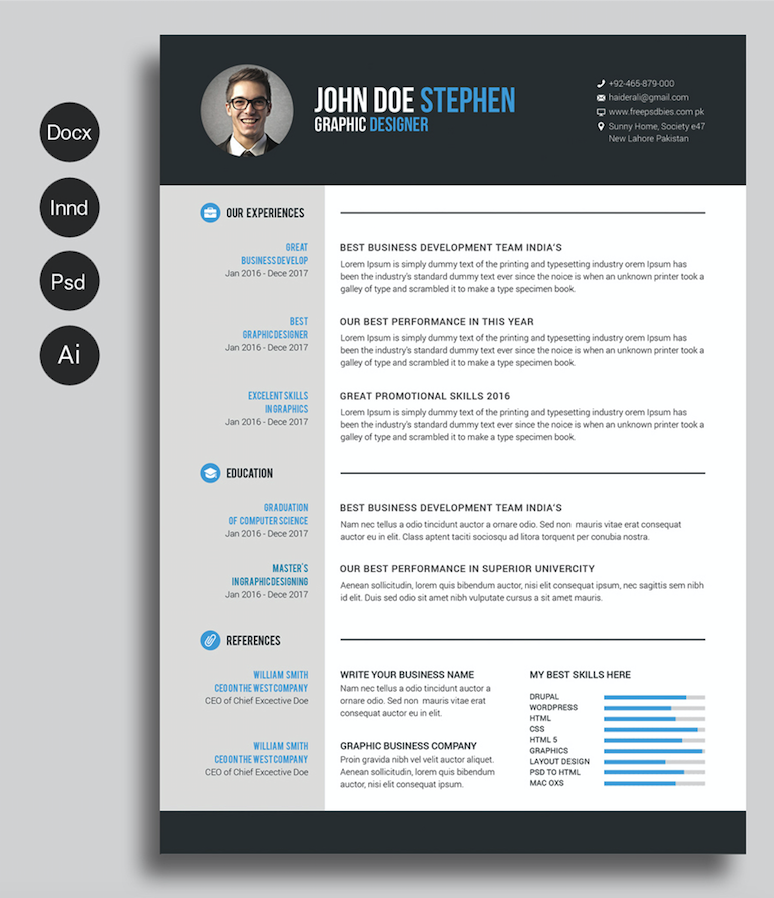 40 best free resume templates 2017 psd ai doc - Free Resume Fonts