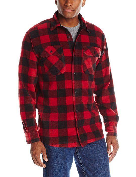 0f87c3a921c Wrangler Men's Authentics Long Sleeve Plaid Fleece Shirt, Red ...