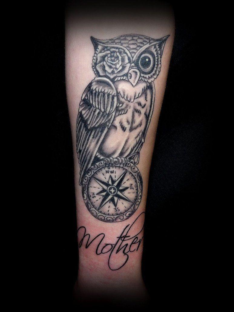 Owl Compass By Taigeri On Deviantart Compass Tattoo Design Compass Tattoo Tattoos