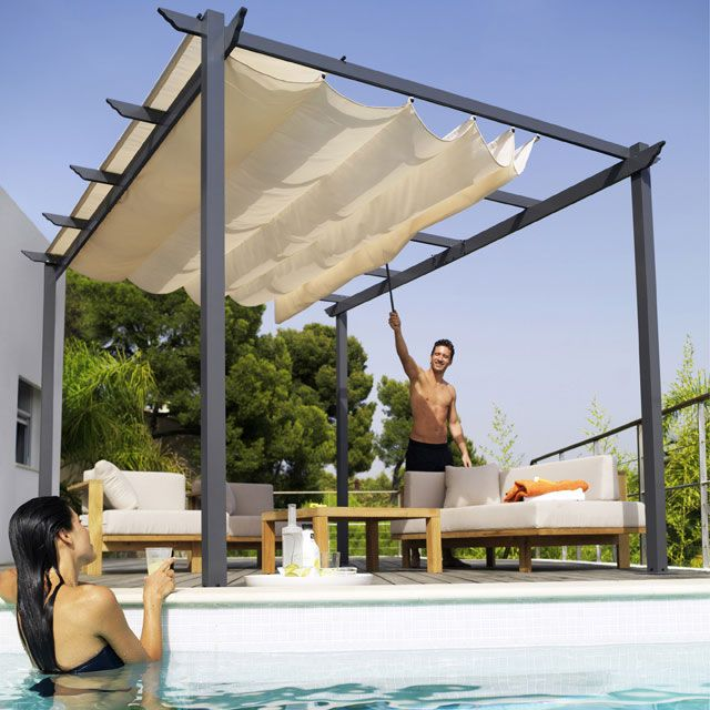 tonnelle blooma clipperton 3 x 4 m en 2019 terrasse et pergola backyard pergola retractable. Black Bedroom Furniture Sets. Home Design Ideas