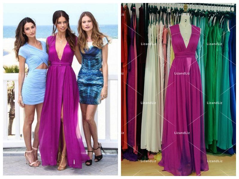 51d574a9979 adriana-lima-fuchsia-pink-chiffon-dress-1