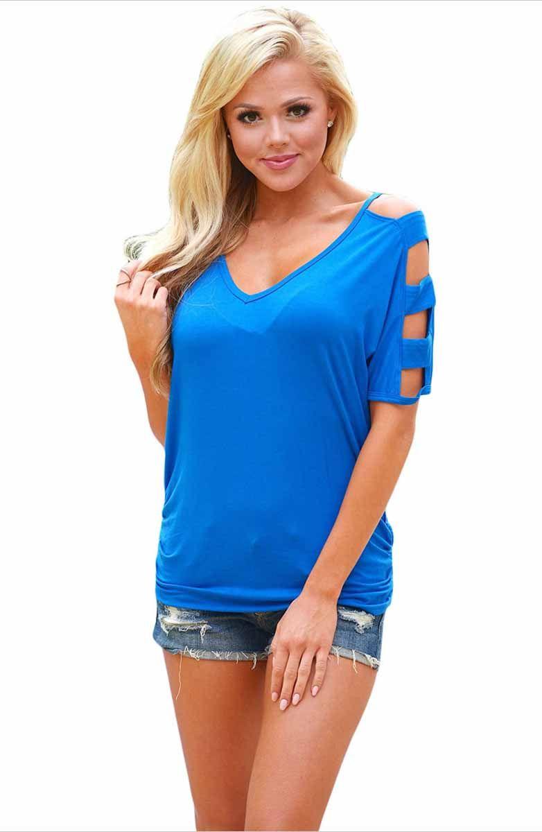 7fdab69717ff88 Women s  blue short sleeve  TShirts with cold shoulder design