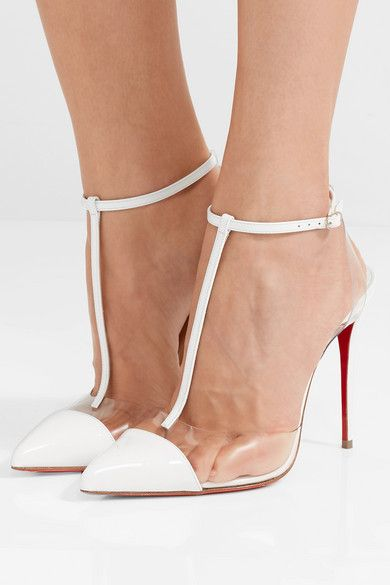 Heel Measures Approximately 100mm 4 Inches White Patent Leather Calf Clear Pvc Buckle Fastening Ankle Strap Mad Ankle Strap Heels Christian Louboutin Heels