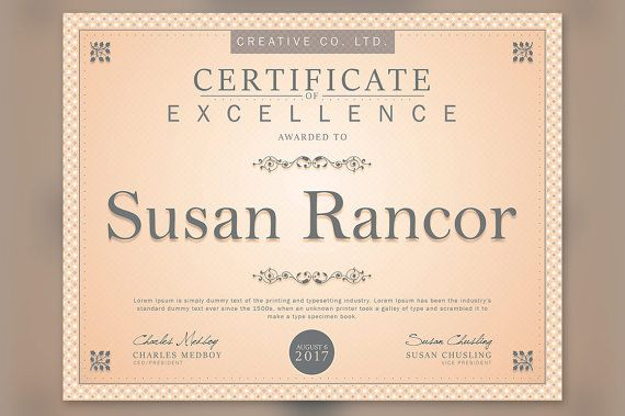 Certificate Photoshop Template 85x11 plus 11x85 Certificate - ms publisher certificate templates