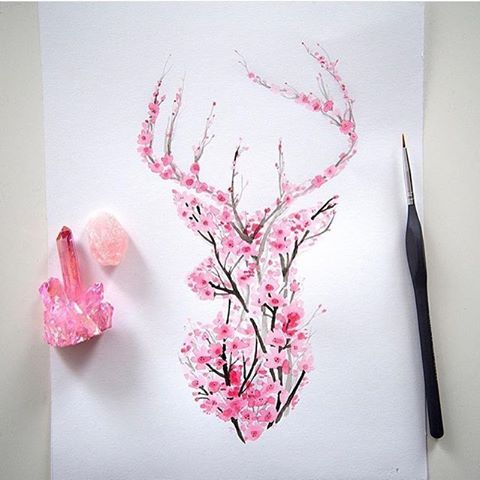 Fleurs De Cerisier Tete De Rennes Trophee Tatuaje Venado