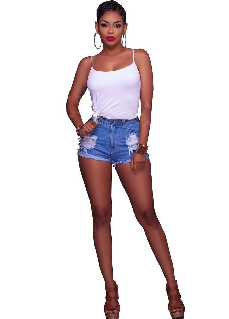 Asana Blue Medium Wash Denim Destroyed Mini Shorts_Denim Shorts ...
