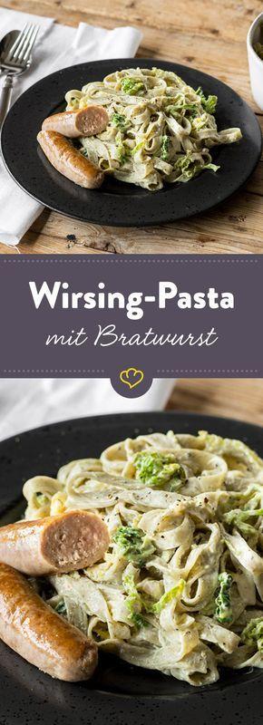 Savoy pasta with sausage and lemon cream cheese sauce  - Essen -