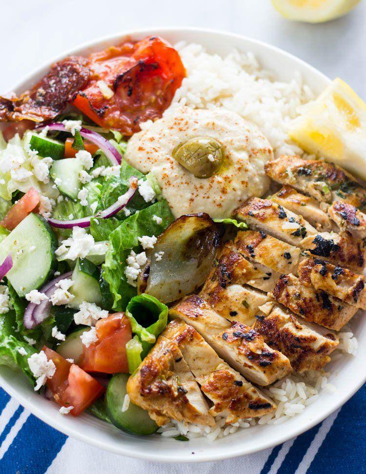 Mediterranean Chicken rice bowls #mediterraneanrecipes
