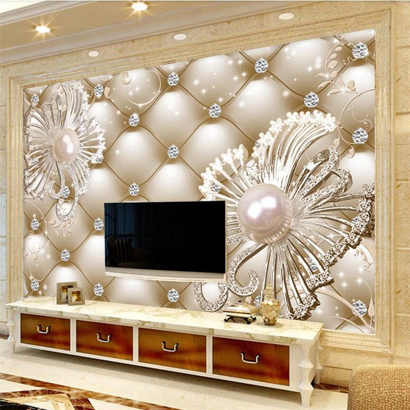 Beibehang Custom Wallpaper 3D Soft Package Diamond Jewelry