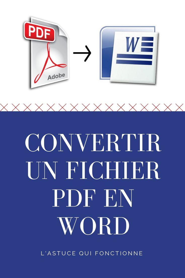 comment convertir facilement un fichier pdf en word et le modifier