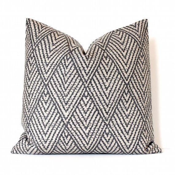 Gray And Tan Geometric Stitch Decorative Designer Pillow