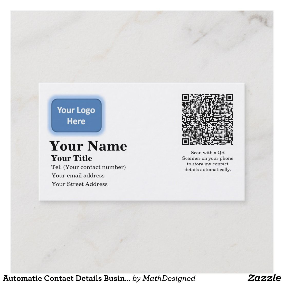 Automatic Contact Details Business Card Zazzle Com Qr Code Business Card Order Business Cards Business Cards