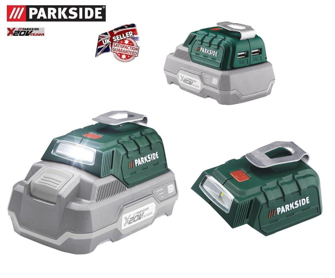 Parkside 20 V Kabellos Akku Adapter 2 X Usb Anschlusse Und Led Beleuchtung Parkside X 20 V Team Amazon De Baumarkt Led Beleuchtung Usb Led