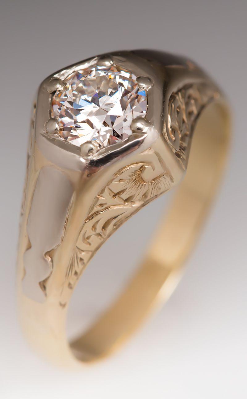Antique Mens Diamond Ring Mens Rings Wedding Diamond Men