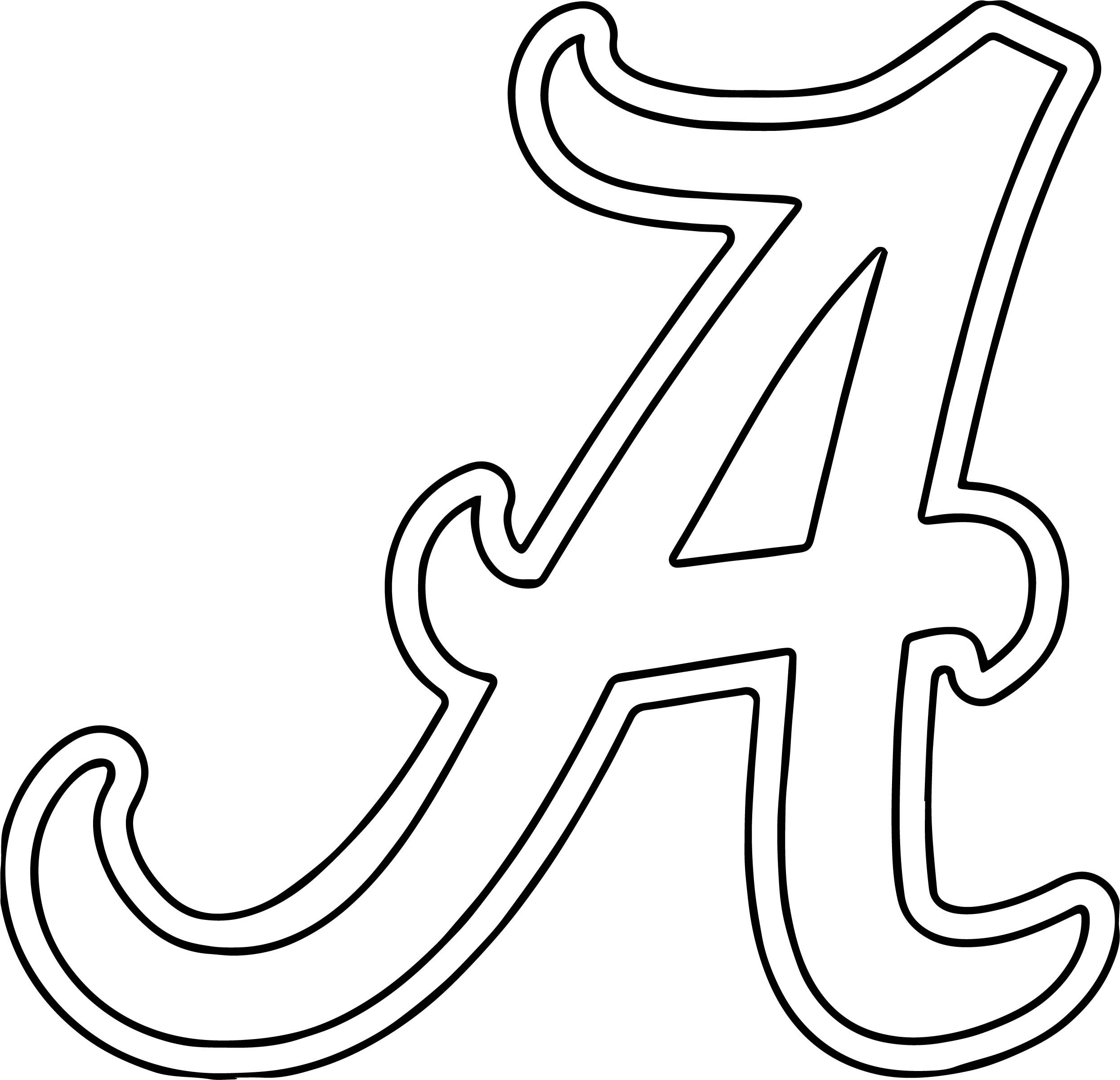 Alabama University Of Alabama A Text Coloring Page | Alabama, Roll ...