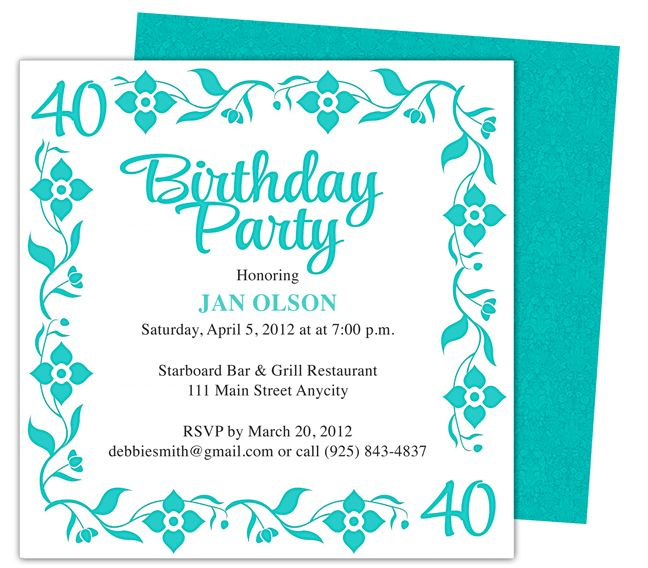 Border 40th Birthday Party Invitation Templates Shown Here In Teal Also Available Red