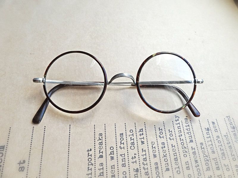 Antique Art Deco eyeglasses, 1930 s vintage galalith and nickel rimmed  glasses, John Lennon style 8d20bf3962