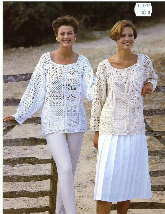 CROCHET PATTERNS - Womens Tunics Sweaters Jacket Cardigan Tops Beach  - One Size fits all