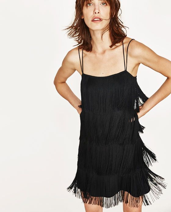 Image 4 Of Satin Dress With Fringe From Zara Black Fringe Dress Ladies Mini Dresses Black Satin Dress