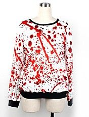 Women's O-neck Loose Casual White Red Blood S... – USD $ 23.09
