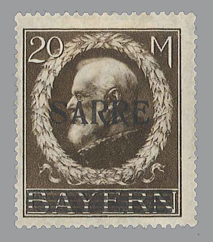 Saargebiet Bayern 20 Mark mit Aufdruck Sarre, in Rapp