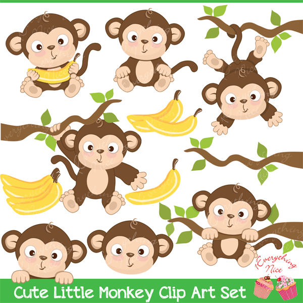 decorate any art project with this cute little monkey clipart set also perfect