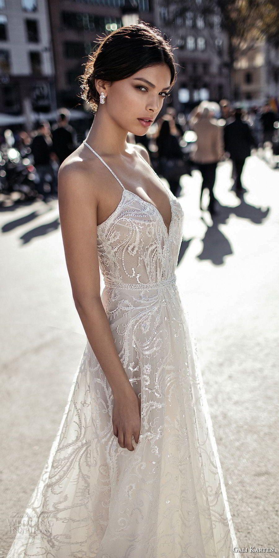 b66462fa4c8 gali karten 2017 bridal spaghetti strap halter neck deep sweetheart  neckline full embellishment elegant romantic soft