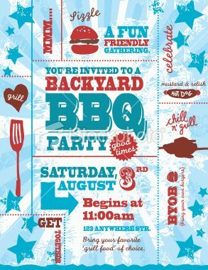 colorful vector illustration of a red white and blue backyard bbq