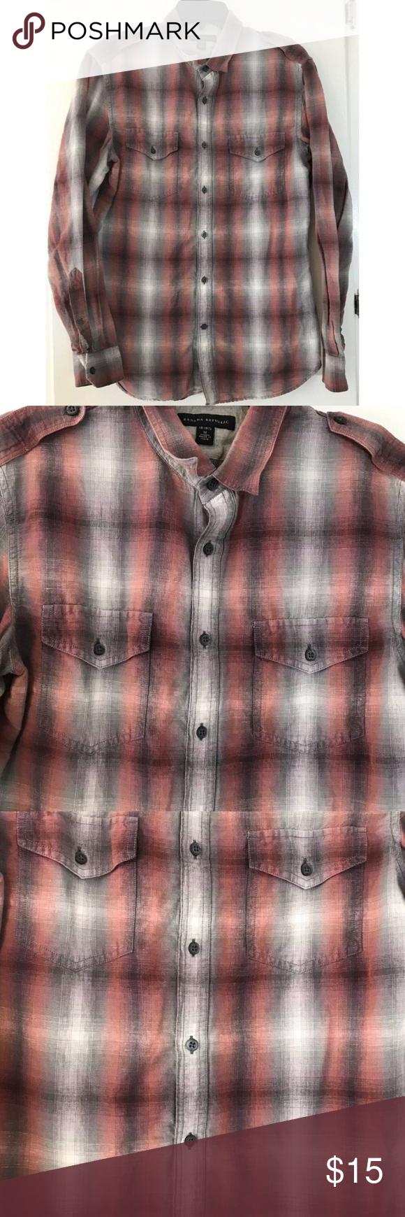 Men's Banana Republic Shirt Sz Medium 1515 1/2 Colorful