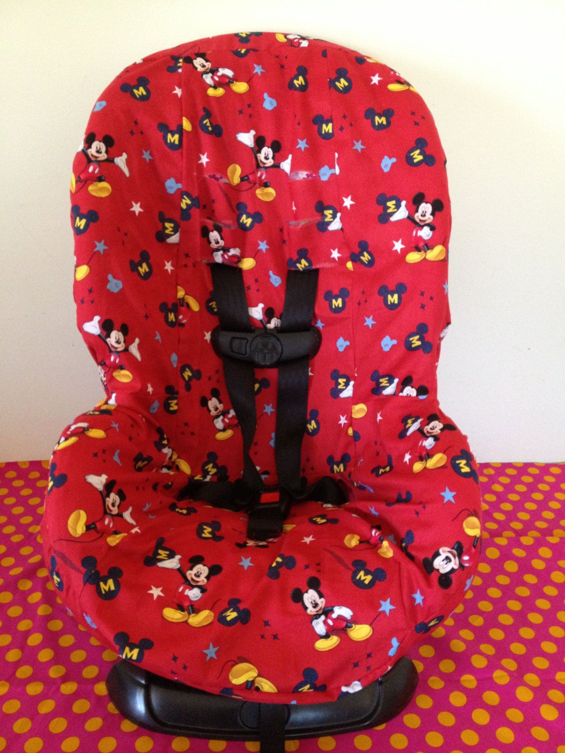 TODDLER carseat cover with Mickey Mouse fabric Carseat