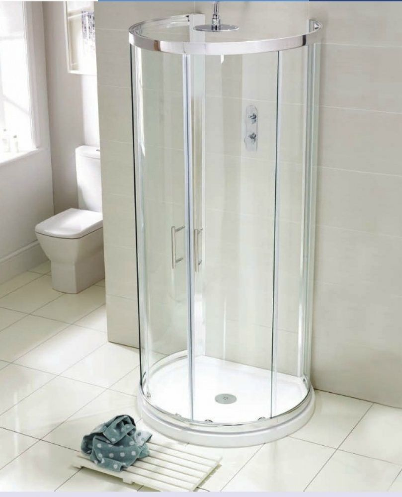Aquaglass 993 x 850 D Shaped Quadrant Shower Enclosure with Tray ...