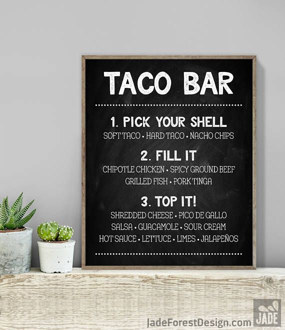 Chalkboard Taco Bar Sign Tacos Sign Rustic Chalkboard Whimsical