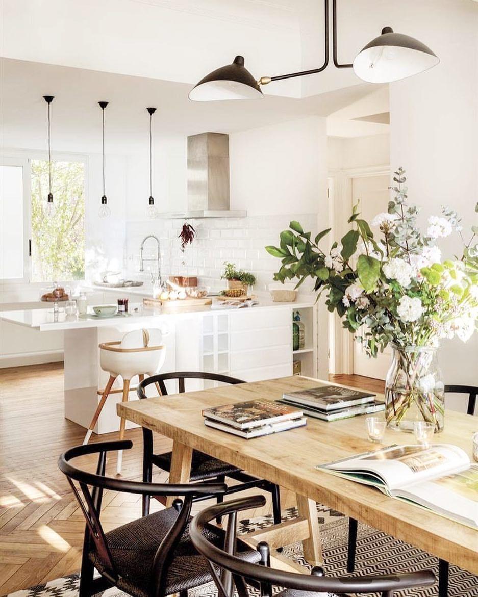 Buen Dia Cocinas Incluidas Y Este Comedor De Pinterest Con Las Wishbone Que Me Encantan Como Diseno De Cocina Cocinas Abiertas Cocina Abierta Al Salon