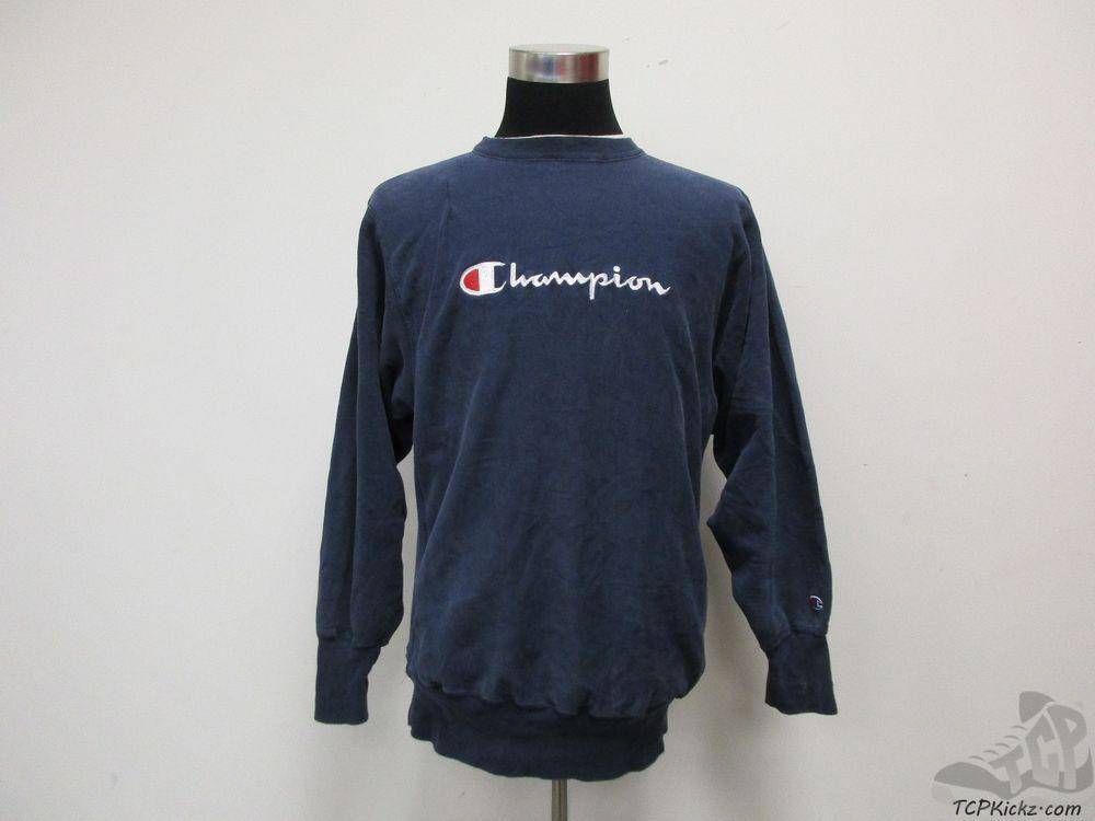 Vtg 90s Champion REVERSE WEAVE Blank Crewneck Sweatshirt sz XL Extra Large Blue #Champion #SweatshirtCrew #tcpkickz
