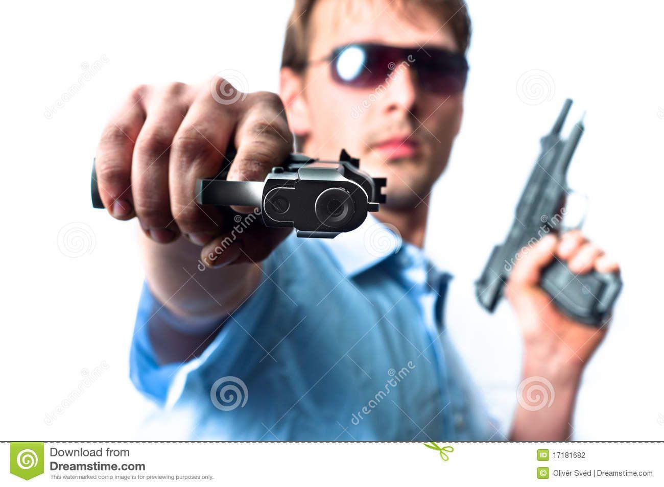 Man Holding Two Guns Man Hold On Guns