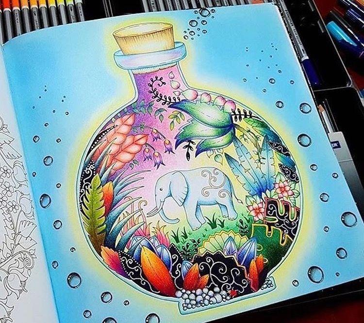 Colored Pencil Tutorial Jungle Animals Cottage Gardens Glass Bottle Coloring Books Colouring Adult Prismacolor Johanna Basford