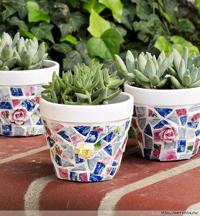 Decor Flower Pots Mosaic Of Broken Plates 7 646x700 384kb