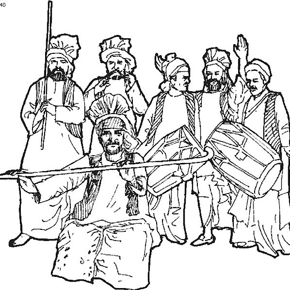 Punjabi Music Dance Coloring Pages Dancing Drawings Lohri Pictures