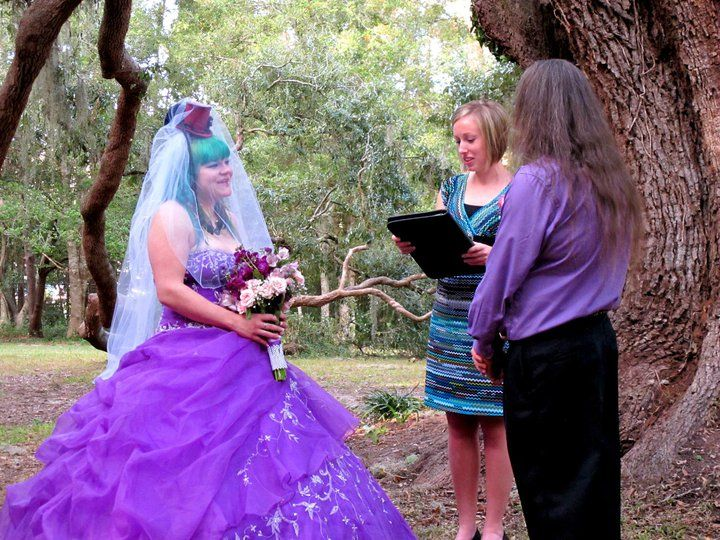 Purple Wedding Dress Tee Outdoor Garden Florida Officiate