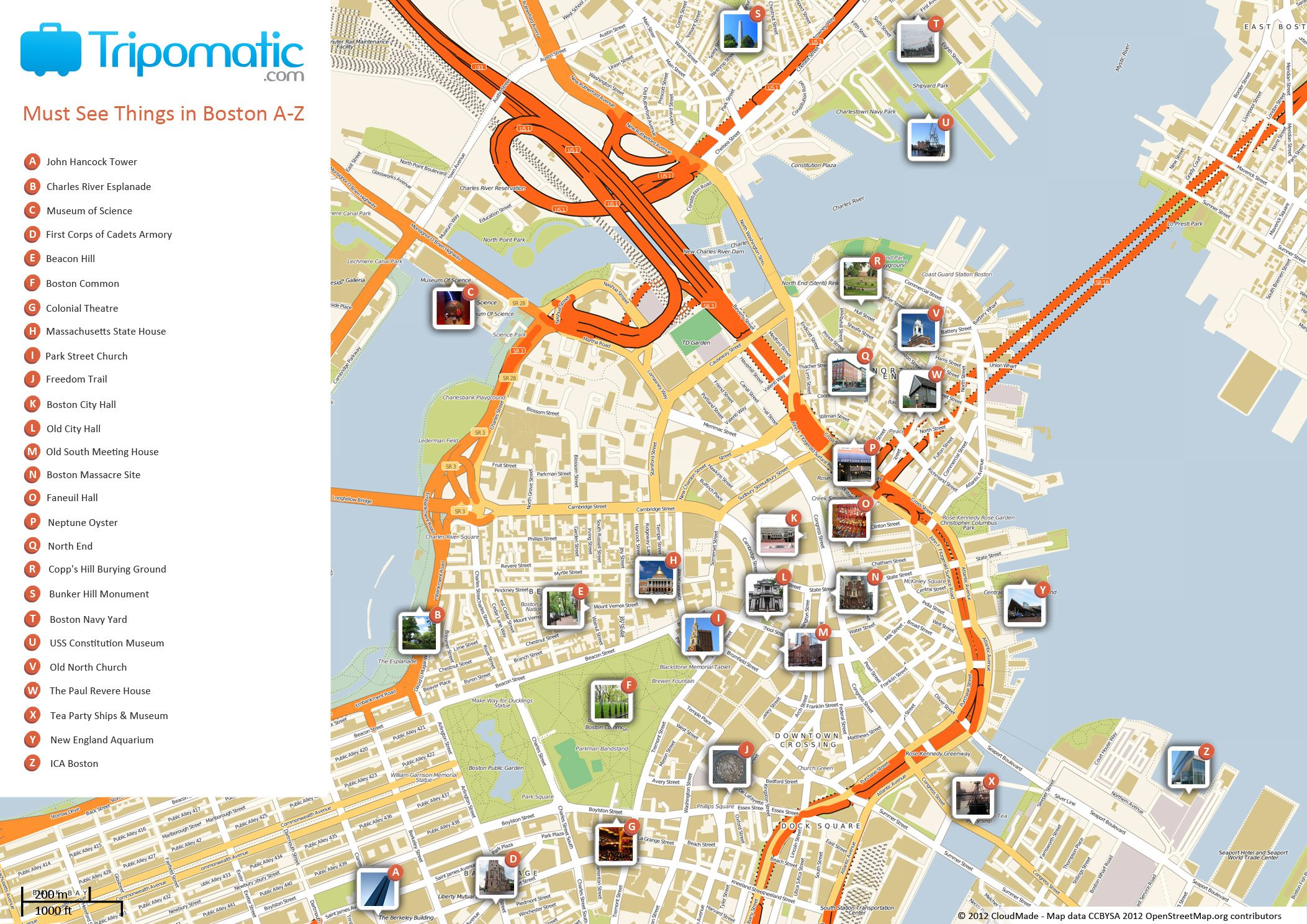 Free Printable Map Of Boston MA Attractions Free Tourist Maps - Boston in usa map