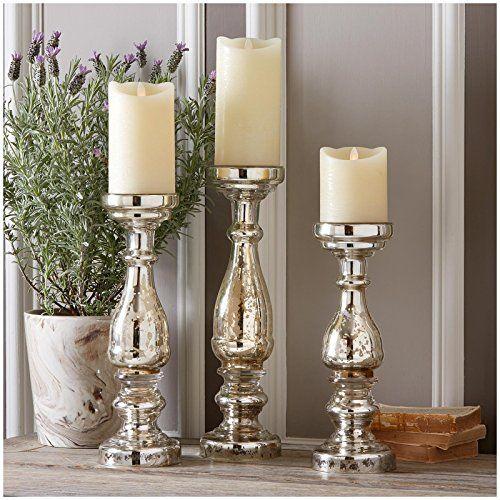 Two S Company Pentimento Silver Mercury Glass Pillar Cand Https Smile Amazon Mercury Glass Candle Holders Mercury Glass Candles Mercury Glass Candlesticks