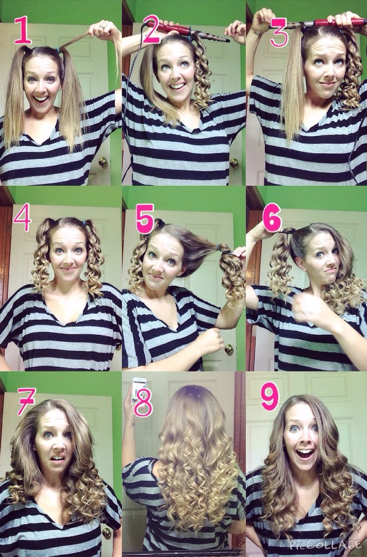 Quick And Easy Curls Using A Curling Wand Curl Each Pigtail With The Curling Wand Going Away From Yo Curl Hair With Straightener Hair Styles Curled Hairstyles