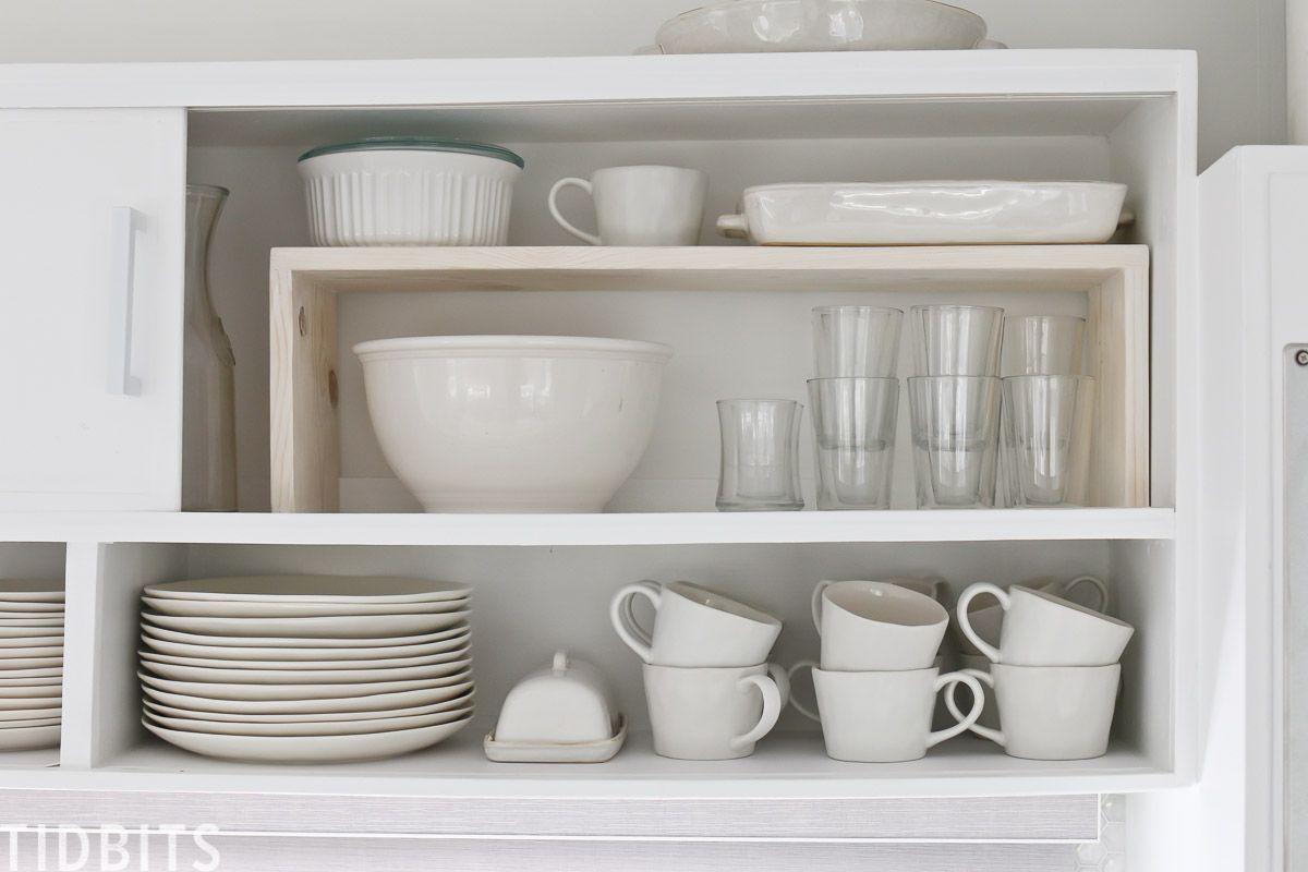 Easy Diy Cabinet Shelf Risers Tidbits In 2020 Shelves Diy Cabinets Cabinet