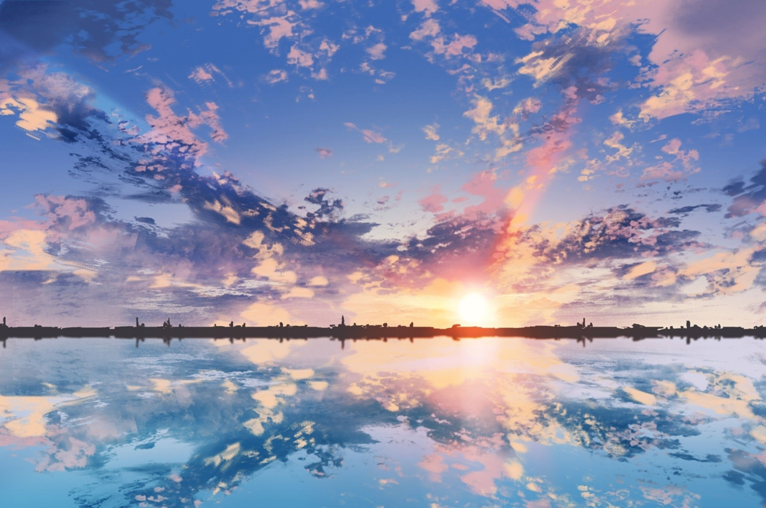 Anime Wallpaper For Dual Monitor Download 2560x1700 Anime Scenic Clouds Sunset Reflection Dual Monitor Wallpa Anime Wallpaper Scenery Wallpaper Anime Scenery