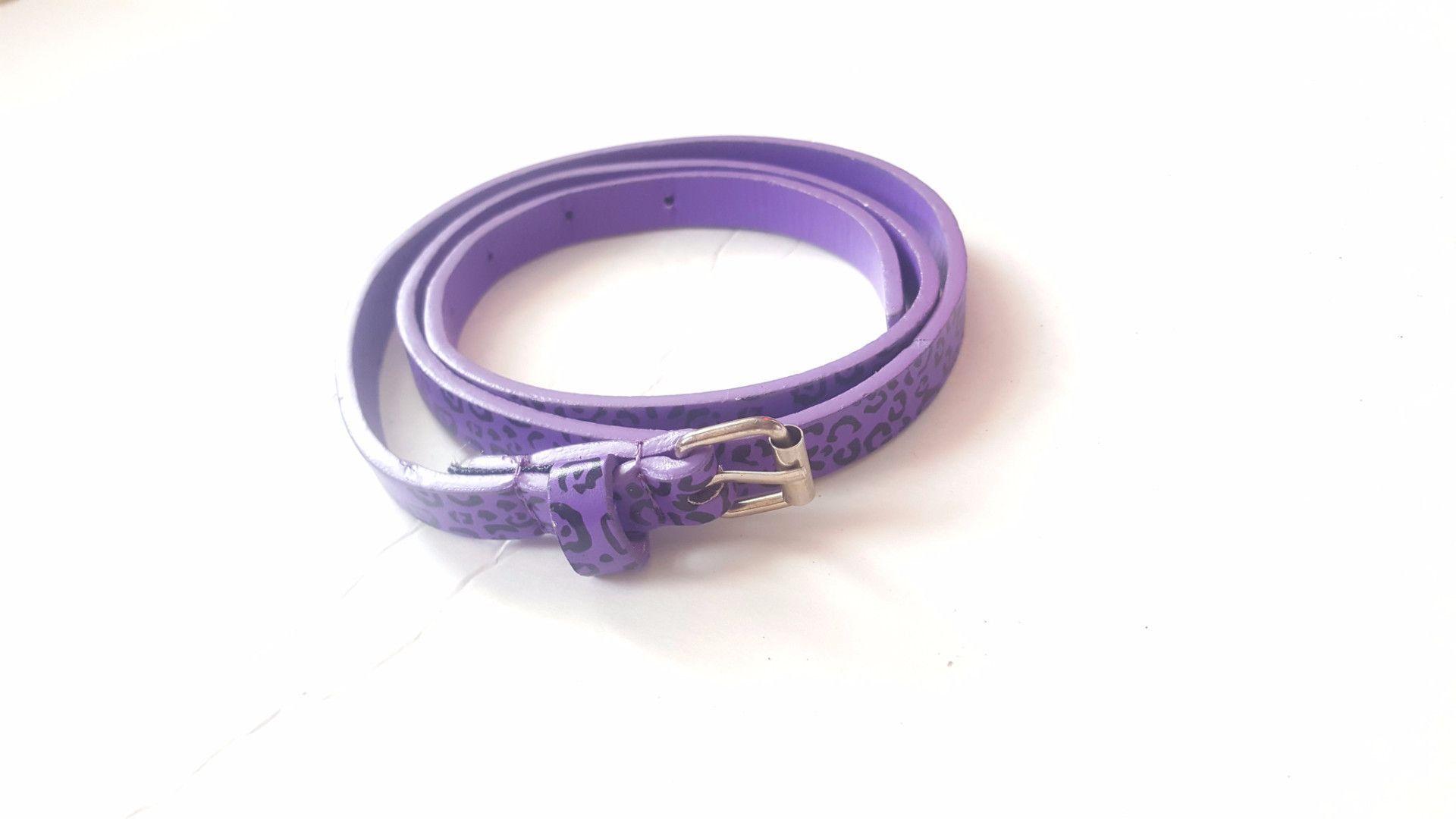 Vintage purple black cheetah animal print s skinny high waist buckle