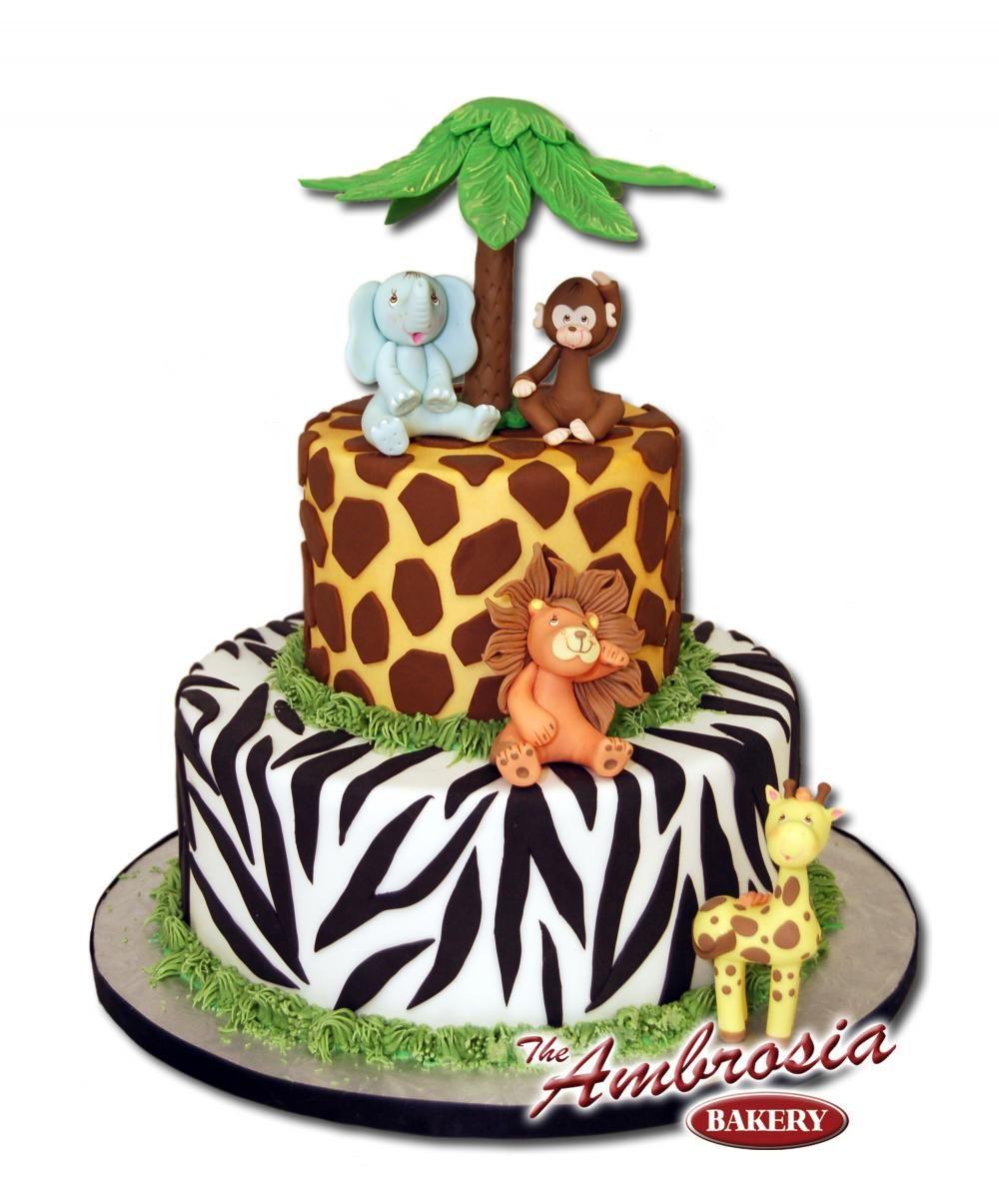 Jungle Theme Cake Design : Safari smash cake Baby Safari, 6 Inch and 8 Inch Double ...